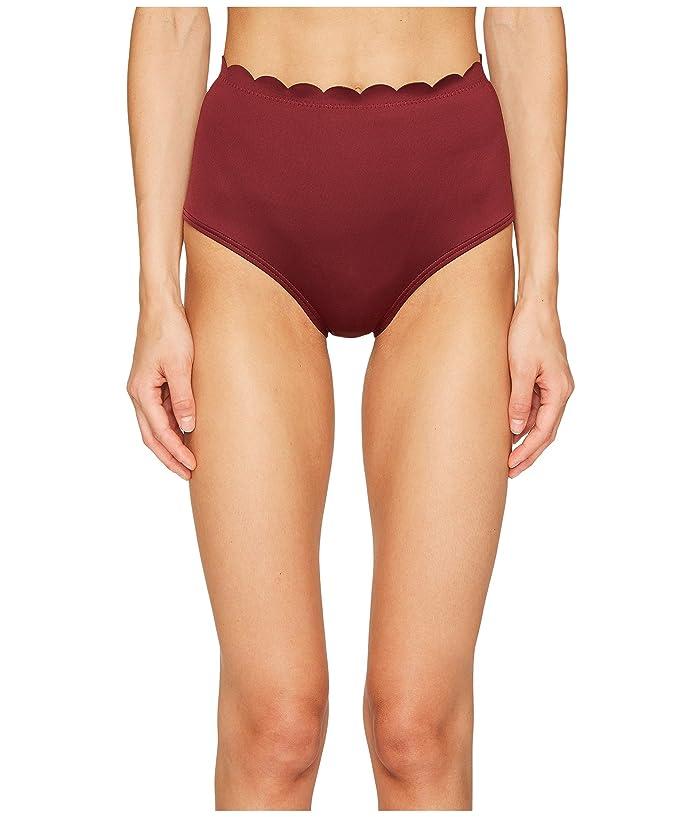 Kate Spade New York Core Solids #79 Scalloped High-Waist Bikini Bottom (Sumac) Women