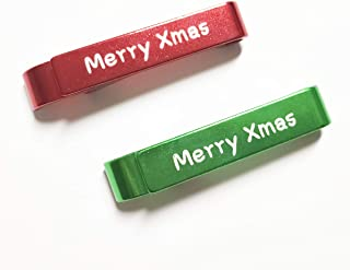 Merry Xmas Bottle Opener Keychain Can Opener Beer Soft Drinks Cola Soda Minisize Metal 2in1 Stylish Key Ring (Red&Green Sets)