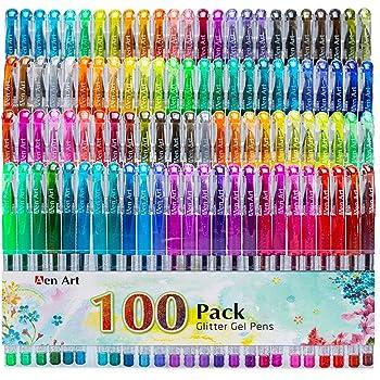 Glitter Gel Pens, 100 Color Glitter Pen Set for Making Cards, 30% More Ink Neon Glitter Gel Marker for Adult Coloring Books, Journaling Crafting Doodling Drawing