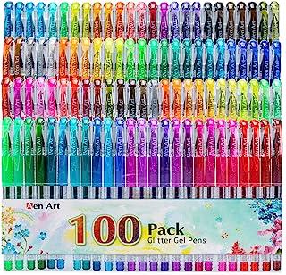 Glitter Gel Pens, 100 Color Glitter Pen Set for Making Cards, 30% More Ink Neon Glitter Gel Marker for Adult Coloring Book...