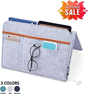 Spacious Life Bedside Caddy| Bedside Storage Organizer for Bunk Bed, Hospital Bed, Dorm Room Bed Rails| 100% Handmade with Double-Layer Felt | 7 Pockets for Holding Laptop | Remote | Books (Gray).