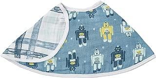 "aden by aden + anais Burpy Bib, 100% Cotton Muslin, Soft Absorbent 4 Layers, Multi-Use Burp Cloth and Bib, 22.5"" X 11"", Single, Retro - Robots"