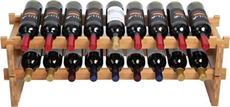 Finnhomy 18-Bottle Stackable Natural Bamboo Wine Display and Storage Rack