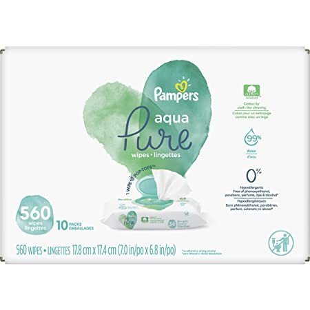 Baby Wipes, Pampers Aqua Pure Sensitive Water Baby Diaper Wipes, Hypoallergenic and Unscented, 10X Pop-Top Packs, 560 Count (Packaging May Vary)