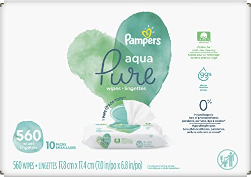 Baby Wipes, Pampers Aqua Pure Sensitive Water Baby Diaper Wipes, Hypoallergenic and Unscented, 10X Pop-Top Packs, 560...