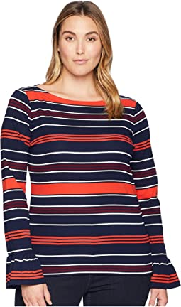 Plus Size Striped Bell-Cuff Top
