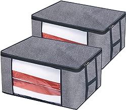 homyfort Cada 2 Bolsa de Almacenamiento - para edredones Ropa Debajo de la Cama Bolsa de Almacenamiento con Cremallera y H Asas, Plegable, Gris STROBAG12