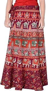 Rajvila Women's Cotton Printed 38 Inch Length Regular Wrap Around Long Skirt(F_W38NT_0001)