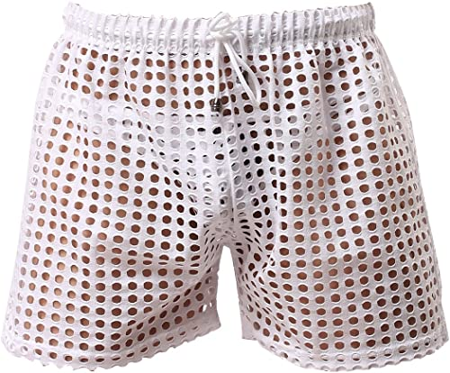 Men Mesh Breathable Short See-Through Mesh Loose Shorts Lounge Underwear Cover Up Boxer Trunks