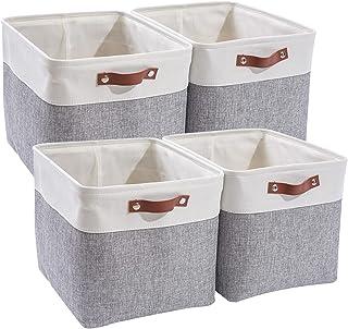 MANGATA Cube boîtes de Rangement, 4 Paniers de rangement en Tissu, 33 x 38 x 33 cm pour chambre, salle de bricolage, chamb...