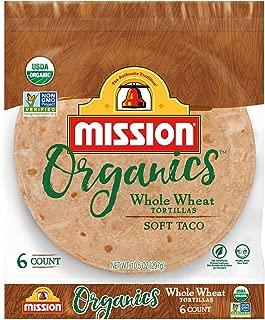 Mission Organics Whole Wheat Tortillas | Non GMO, Trans Fat Free | Small Soft Taco Size | 6 Count