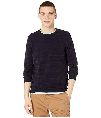 J.Crew Cotton-Cashmere Pique Line Stripe Crewneck Sweater (Stripe Navy) Men