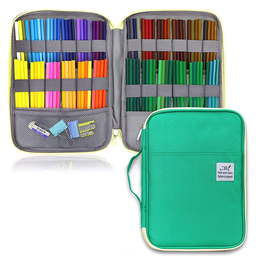 YOUSHARES 96 Slots Colored Pencil Case, Large Capacity Pencil Holder Pen Organizer Bag with Zipper for Prismacolor Watercolor Coloring Pencils, Gel Pens & Markers for Student & Artist (Green)