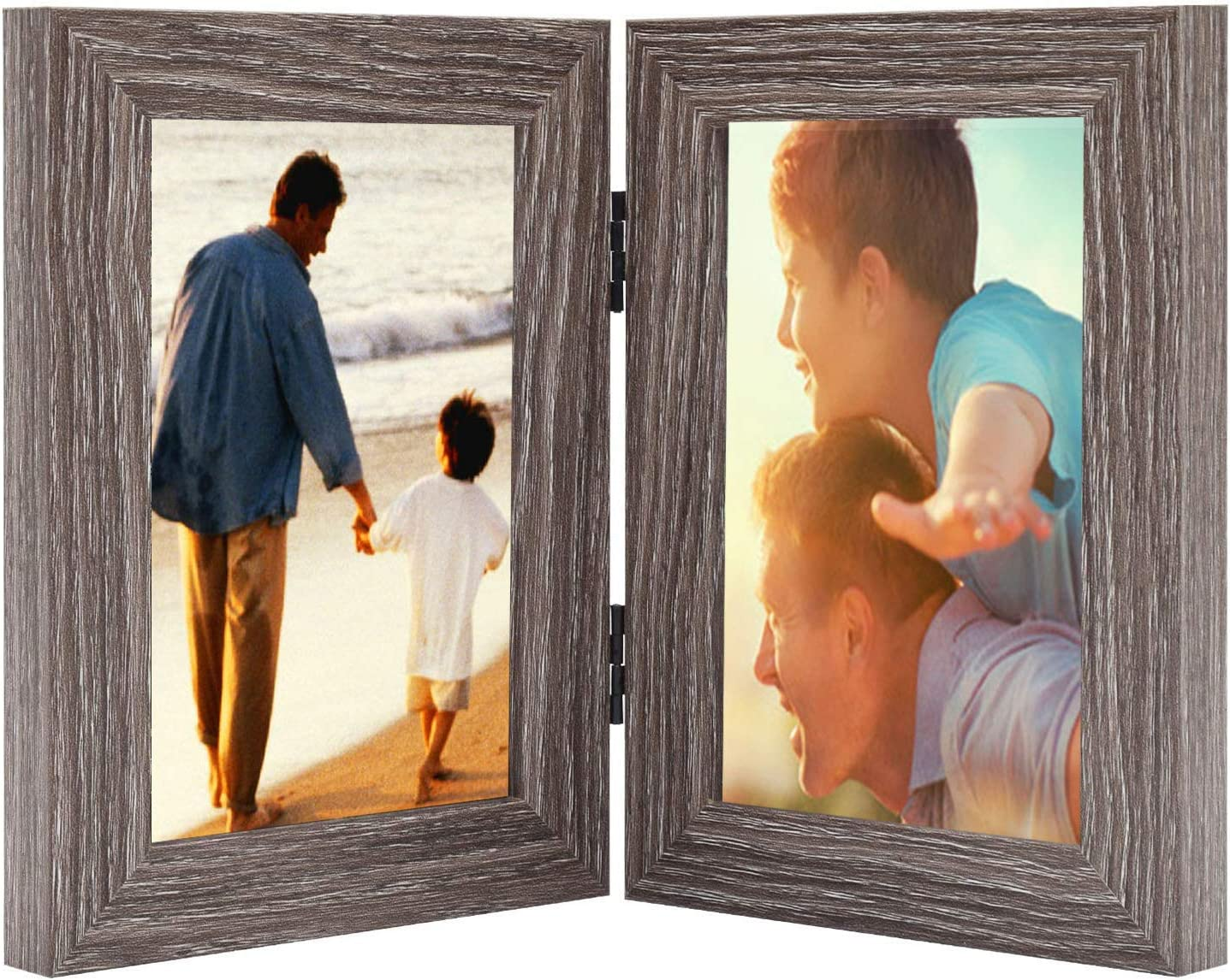 Awefrank 4x6 Inch Double Picture Frame with Glass Front, Made To
