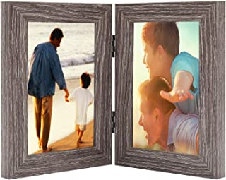 Alexbasic 4x6 Inch Double Picture Frame with Glass Front, Made To Display 2 4x6 Inch Pictures, Stands Vertically on Desktop or Table Top
