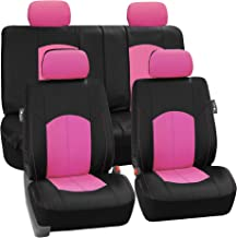 FH Group Limited TIME ONLY PU008114 Perforated Leatherette Full Set Car Seat Covers, (Airbag & Split Ready), Pink/Black Color- Fit Most Car, Truck, SUV, or Van