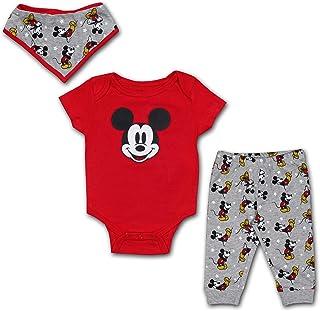 Disney Boy's 3-Piece Mickey Mouse Onesie, Bib and Jogger Pant Set