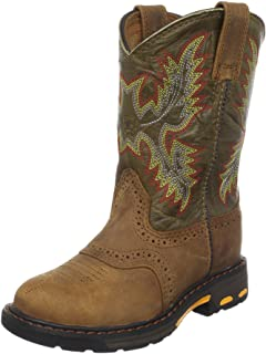 ARIAT Unisex-Child YTH Workhog Pullon Aged Bark/Army Green Work Boot