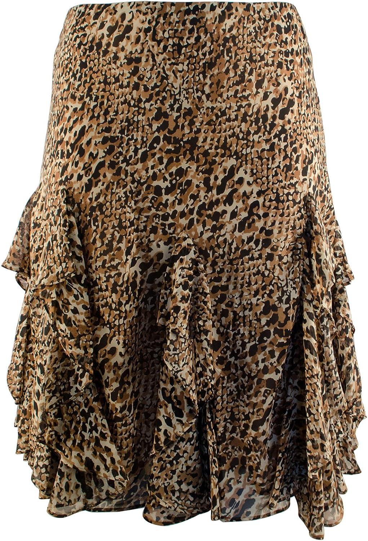Lauren Ralph Lauren Women's Plus Size Leopard Ruffled Skirt