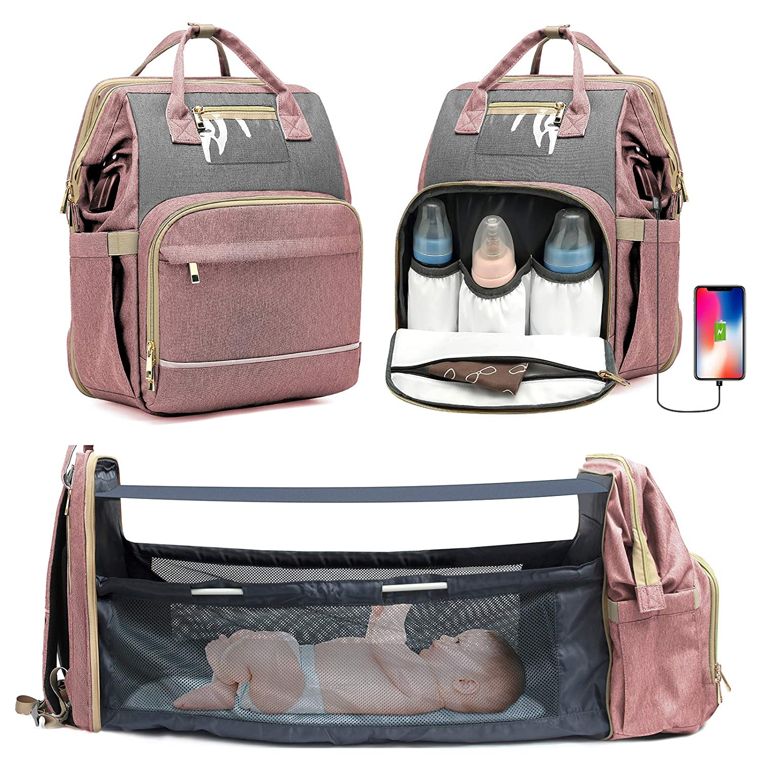 KOVEBBLE Diaper Bag Backpack with Changing Station, Foldable Baby Backpack Diaper Bags for Baby, Boy, Girl, Mom, Dad,Men, Women, 3 in 1 Mommy Bag with USB Charging Port for Travel Picnic Hospital Pink