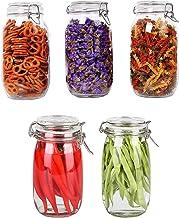 STAR WORK 1500 ML Kitchen Food Storage Jar Airtight Food Storage Storage Jar Round Dry Food Storage Spice Container Set Buckle Lid Glass Jars Pack of (5)