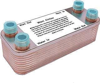 Ferroday 20 Plate Wort Chiller,Stainless Steel Heat Exchanger 1/2 NPT Thread Brazed Plate Heat Exchanger(7.5