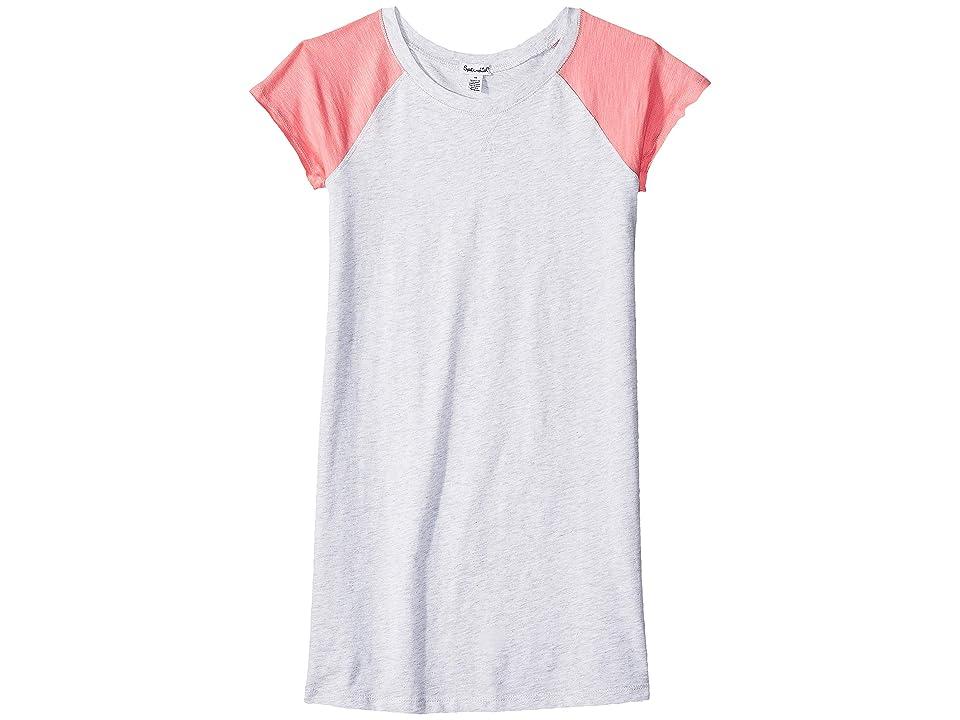 Splendid Littles Slub Jersey Raglan Short Sleeve Dress (Big Kids) (Ice Grey Heather) Girl