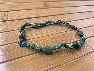 Braccialetto di litoterapia ametista fascino perla smeraldo che rafforza il braccialetto
