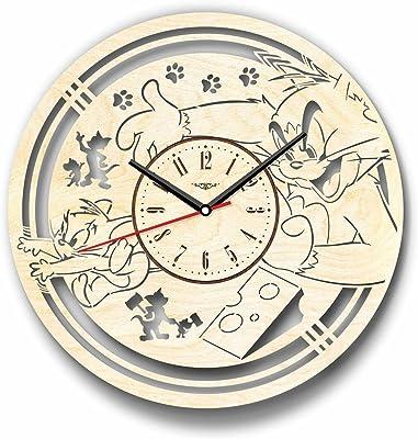 Tom and Jerryトムとジェリー木製掛け時計ー完璧で美しく作られたー現代アートで自宅を飾ろうー彼と彼女にユニークなギフトーサイズ12インチ(30 ㎝)