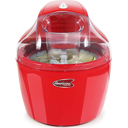 Maxi-Matic EIM-1400R, Automatic Easy Homemade Electric Maker, Ingredient Chute, On/Off Switch, No Salt Needed, Creamy Ice Cream, Gelato, Frozen Yogurt, or Sorbet, 1.5 Quart, Red