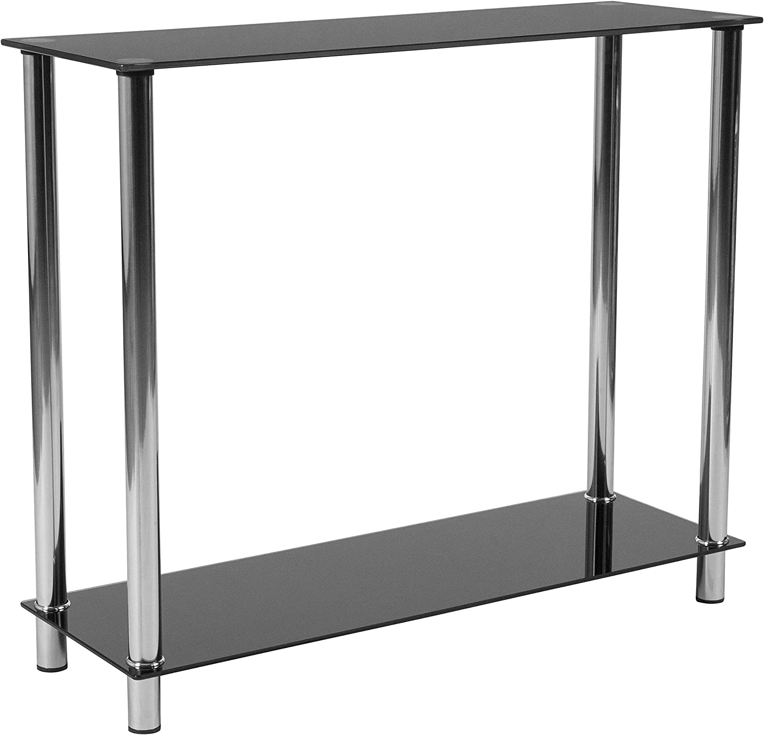 Flash Furniture Riverside Collection Black Glass Console Table with Shelves and Stainless Steel Frame