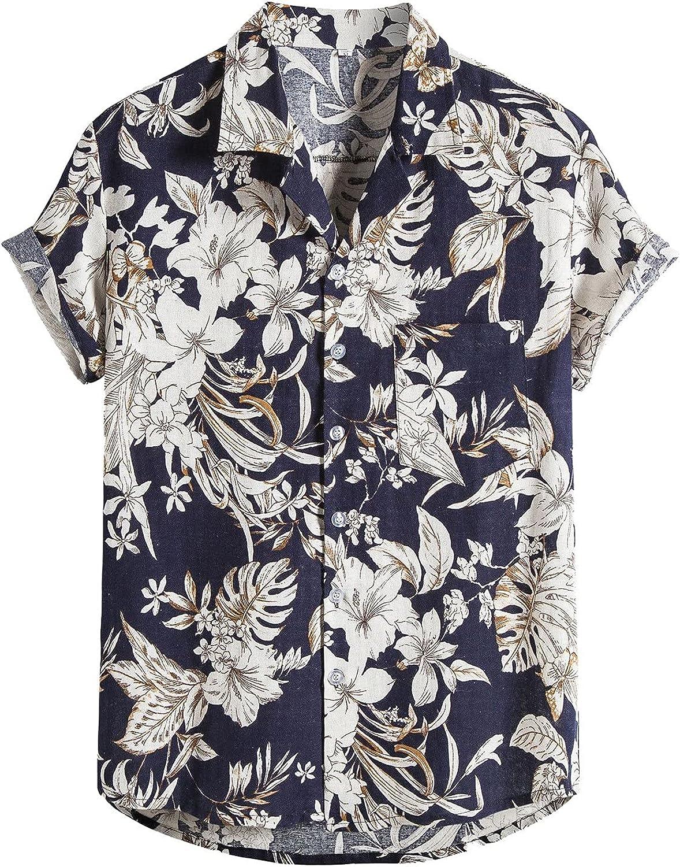 DZQUY Mens Floral Hawaiian Beach Shirts Short Sleeve Summer Casual Fashion Printing Hip Hop Button Down Boho Shirts Tops