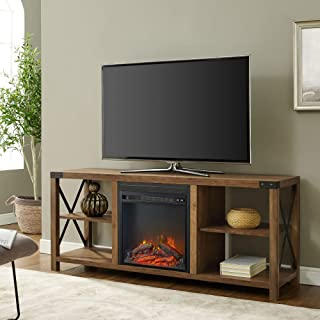 Walker Edison Furniture Company Modern Farmhouse Metal X Wood Fireplace Stand for..