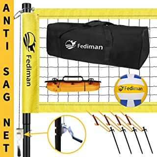 Fediman Professional Volleyball Set with Anti-Sag Net, Portable Volleyball Net Set with Adjustable Aluminum Poles + Net Ti...