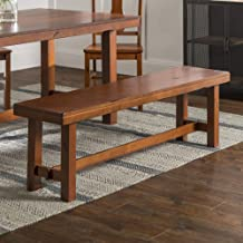 WE Furniture AZBH1DO Rustic Farmhouse Wood Distressed Dining Room Kitchen Bench, 60 Inch, 3 Person, Brown Oak