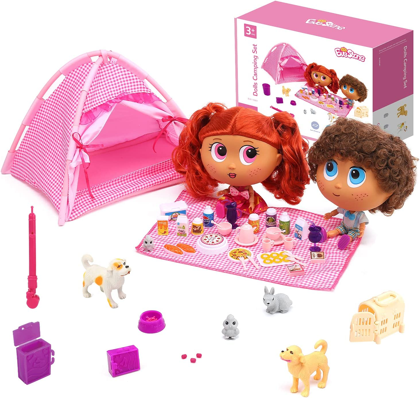 EveStone 56PCS Baby Dolls and Camping Playset Toy for Girls, 2 Dolls (7.5″) & Accessories,Doll Tent,5 Pets Care Set,Pretend Play Food,Toy Tea Set,2 Clothes for Dolls,Gift for 3+ Years Old Toddler Kids