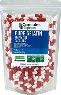 Capsules Express- Size 1 Red and White Empty Gelatin Capsules - Kosher - Pure Gelatin Pill Capsule - DIY Powder Filling (500)