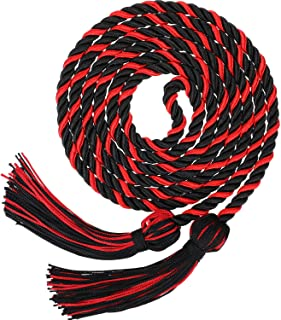 Graduation Honor Cords Tassels Cord Polyester Yarn Honor Cord for Bachelor Gown for Graduation Students (Black with Red)