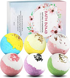 Bath Bombs Gift Set-Organic Natural Essential Oils, Relax and Moisturize Skin, 4 OZ*6 PCS Perkisboby Spa Bomb Gifts for Gi...