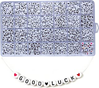 Amaney 1400 Pieces 4×7mm White Round Acrylic Alphabet Letter Beads A-Z and Heart for Jewelry Making Bracelets Necklaces Key Chains and Kids Jewelry Each Letter Included