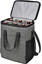 6 Bottle Wine Carrier, Insulated Leakproof Padded Wine Cooler Carrying Tote Bag for Travel, Camping and Picnic, Perfect Wine Lover Gift, Grey