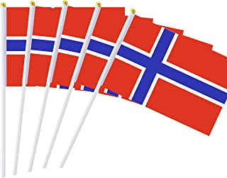 25 Pack Hand Held Small Mini Flag Norway Flag Norwegian Flag Stick Flag Round Top National Country Flags,Party Decorations Supplies For Parades,World Cup,Festival Events ,International Festival