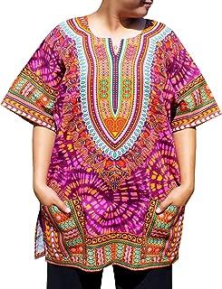 RaanPahMuang African Bright Ankara Dashiki Art Print Tie Dye Shirt with Pockets