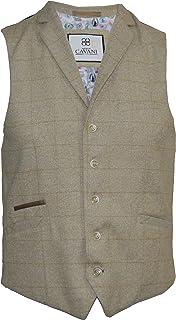 Cavani Men's Tweed Check Beige Smart Formal Waistcoat with Lapels Slim Fit