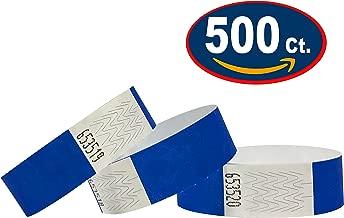 Tyvek Pulseras – 500 unidades – Azul neón – Tyvek pulseras para eventos