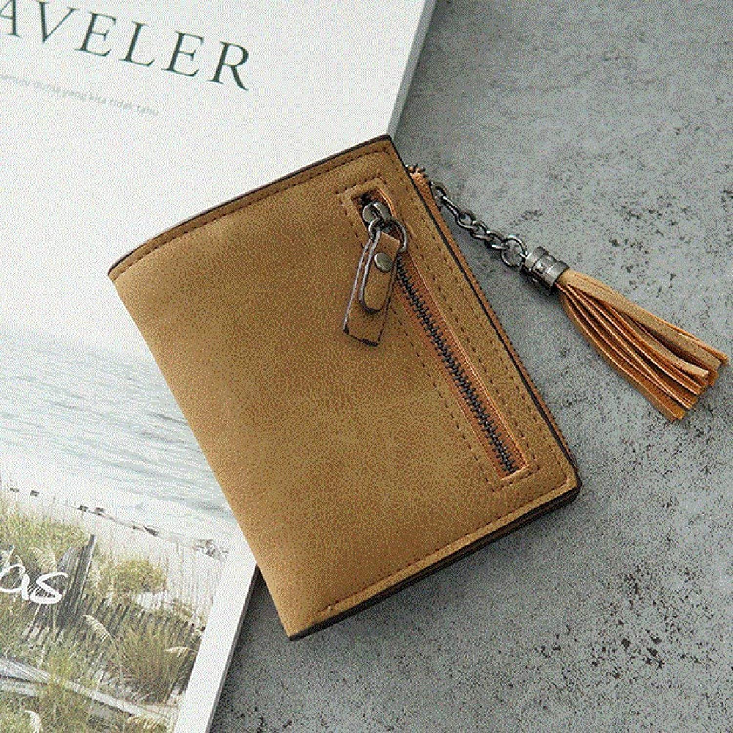 Clutch Bag Small Wallet Female Fashion Short Retro Frosted Tassels Zipper Students Wallets Wallet Dinner Purse (color   D)