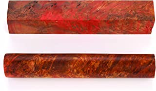 Maple Burl Stabilized Double Dyed Pen Blank Red/Yellow 1-Piece