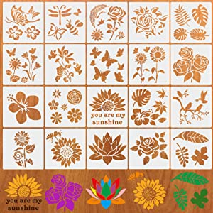 20 Pcs Flower Stencils, Leaf Butterfly Stencils for Painting on Walls Canvas Wood Furniture, Rose Bird Floral Reusable Stencils Kit for Crafts Template Paint Stencils Set for Home Wall Décor