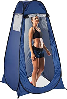 Relaxdays Pop Up växlingstält, H x B x D: 190 x 120 x 120 cm, vattentätt omedelbart tält, kompakt, UV 50+, blå