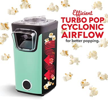 Dash Turbo POP Popcorn Maker with Measuring Cup to Portion Popping Corn Kernels + Melt Butter, 8 Cup Popcorn Machine - Aqua